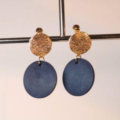 indigo woodparts design earrings